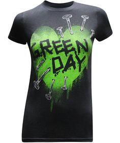 Green Day Heart Women's Fitted Rock Band T-Shirt