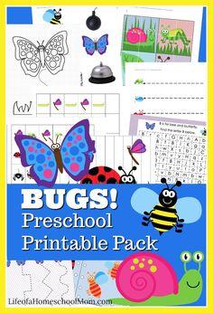 FREE and Adorable Bugs Preschool Printable Pack - Homeschool Giveaways Preschool Age, Free Preschool, Preschool Printables, Preschool Worksheets, Preschool Activities, Preschool Curriculum, Spring Activities, Free Printables, Early Learning