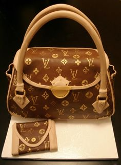 Louis Vuitton purse cake and wallet covered in handpainted chocolate fondant