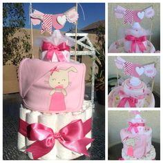 Diaper cake for Baby shower. Diaper cake I made for a baby girl with Carter's onesies and blanket, and a Stampin up! banner Davina :)