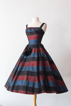 Vintage 1950s Dress 50s Red and Blue Boldly Striped Cocktail