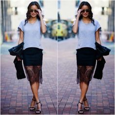 How to Chic: JAMIE CHUNG - LACE SKIRT - STREET STYLE