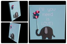 3D Nursery Art - Elephant with Heart Balloons - All you need is LOVE!