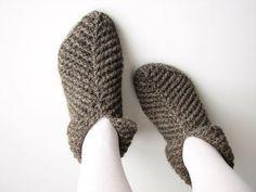 Crocheted Woolen Slippers / Socks 100 Natural Organic by milleta