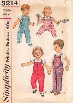 6.99 USD Simplicity 3214; ca. 1959; Toddler's Blouse and Overalls: Blouse features a Peter Pan collar and button front closing. V. 1 features short set-in sleeves. V. 2 features puff sleeves. Lace trim is optional. Overalls all views have bib front elastic in casing at back waistline suspenders and side openings. Contrasting bias trims overalls. V. 1 and 2 feature pockets. V. 2 lace insertion may be used in place of bias trim. Pattern is partially cut and in good condition complete with…