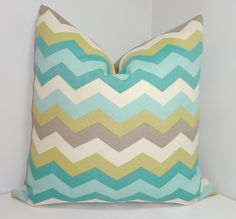 OUTDOOR Chevron Pillow Cover Blue Grey Citrine Ivory by HomeLiving, $18.00