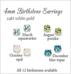 14kt Gold and Birthstone Earrings for teens. The genuine birthstones are 4mm.