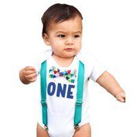 First Birthday Outfits Boy Boy Teal Suspenders Colorful Print Bow Blue One Birthday Outfit Nik and Noah's Boytique. 1st Birthday Onesies for Baby Boys First Birthday Outfits Boy, Baby Boy First Birthday, First Birthday Shirts, 1st Birthday Photos, Baby Boy Outfits, Cute Outfits, Cake Smash Outfit Boy, Heat Press Vinyl, 4th Of July Outfits