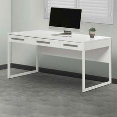 Corner Office White Sheridan 3 Drawer Desk & Reviews   Temple & Webster White Drawers, Desk With Drawers, Corner Office, Office Desk, Opening A Business, Large Desk, Australia Living, Drawer Fronts, Writing Desk