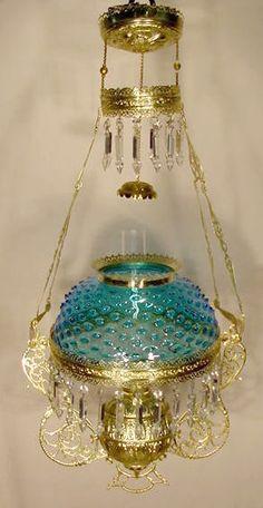 Victorian Blue Hobnail Hanging Lamp NR; completely restored/refurbished frame.