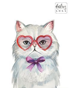 Grumpy Cat Watercolor Print - Persian Cat - Retro Cat - Cat Art - Hipster - Animal Art - Nursery Art - Cat Painting