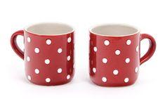 Schöne Tassen mit Löffel Kaffeetassen Kaffeebecher rot
