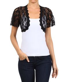 Look what I found on #zulily! Black Sheer Lace Shrug by J-MODE #zulilyfinds