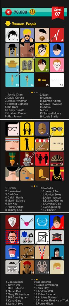 Icon Pop Quiz Famous People level 7 cheats and answers for iPhone and Android