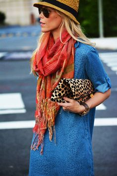 Love the idea of adding a colorful scarf and leopard print clutch to the classic chambray dress for fall.