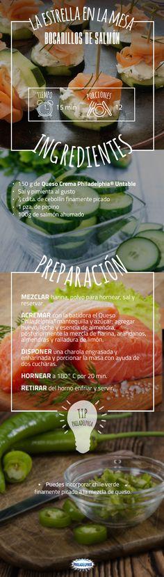 Prepara esta deliciosa botana para una tarde con tus amigas.  #recetas #recetas #quesophiladelphia #philadelphia #crema #quesocrema #queso #salmon #botana #bocadillo