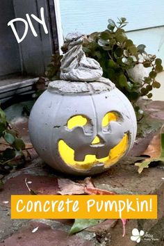 Get ready for Halloween by making a cement Jack O' Lantern. Use a battery operated LED to light it up! Here's the detailed tutorial. #artsyprettyplants #halloweendecor #diycement #concrete #cementcrafts #falldecor #spooky Vintage Halloween Decorations, Halloween Crafts, Handmade Christmas Gifts, Christmas Diy, Concrete Crafts, Concrete Projects, How To Make Lanterns, Pumpkin Bucket, Diy Craft Projects