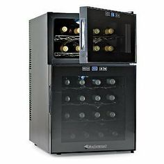 "Wine Enthusiast Silent 24 Bottle Dual Zone Touchscreen Wine Refrigerator by Wine Enthusiast. $344.21. Maximum Ambient Temperature: 77°F Decibels: 30 (Approximately the same amount as a quiet library); Capacity: Up to 24 bottles* Size: 29-1/4""H w/hinge x 17-3/4""W x 21""D; Weight: 54 lbs. Temperature Ranges: Upper Zone - 46-65°F; Lower Zone - 52-65°F; *Note: Doors are not reversible. **Note: Shelving is meant to hold standard Bordeaux size bottles, using larger..."