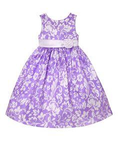 American Princess Lilac & White Floral A-Line Dress - Girls | zulily