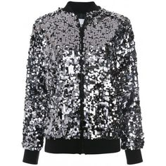 MSGM Sequinned Bomber Jacket (€740) ❤ liked on Polyvore featuring outerwear, jackets, flight jackets, zip front jacket, sparkly bomber jacket, msgm jacket and bomber jackets