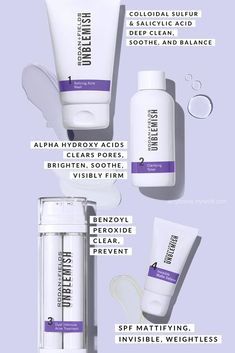 A 4-step skincare regimen that will clear your skin from acne while reversing the signs of aging. #acne #rodanandfields #pimples #cysticacne #clearskin #skincareregimen #benzoylperoxide Unblemish Rodan And Fields, Rodan And Fields Regimen, Rodan Fields Skin Care, Rodan And Fields Consultant, Adult Acne Treatments, Cystic Acne Treatment, Clear Pores, Acne Marks, Acne Solutions