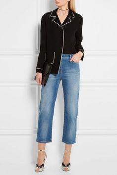 Valentino - Studded Cropped Mid-rise Boyfriend Jeans - Mid denim -