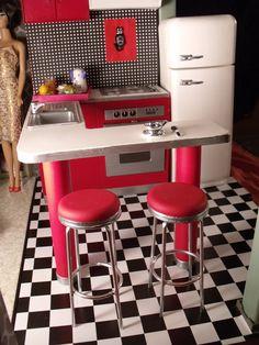 Barbie doll RETRO 1950s KITCHEN ... custom creation by CHANIKAVA/Anastacia Leigh... doll house diorama dollhouse