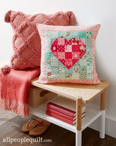 """Fabrics: various collections by Beverly McCullough for Riley Blake Designs. Say """"I love you"""" with a scrappy heart pillow that features charming hand-quilted details. Sewing Pillows, Diy Pillows, Throw Pillows, Pillow Ideas, Diy Cushion, Heart Pillow, Pillow Talk, Pillow Tutorial, Quilted Pillow"""