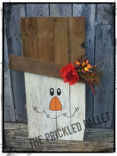 This adorable Wooden Scarecrow made from Recycled Pallet wood makes a great addition to your Fall Decor! Approximate measurements are 32 tall x