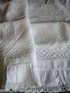 "Antique French fine linen (Fil de Lin) pillowcase, trimmed with bobbin lace and hand embroidered monogram ""J"" Lace Embroidery, Vintage Embroidery, Antique Lace, Vintage Lace, Antique Desk, Vintage Party, Linen Pillows, Linen Fabric, Linens And Lace"