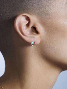 Large Opal Circle Studs – WWAKE Earring Backs, Designer Earrings, Handcrafted Jewelry, Women's Earrings, Necklace Lengths, Studs, Opal, Jewelry Design, Jewelry Making