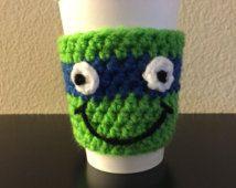 Teenage Mutant Ninja Turtles Coffee Cozy, TMNT Coffee Sleeve, Crochet Java Jacket, Travel Cup Holder, Turtle Can & Bottle Holder