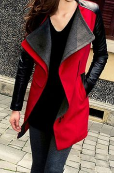 Red Leather Sleeve Jacket
