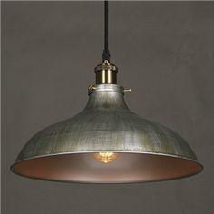 (EU Lager)Pendelleuchte Industrie Stil Schale Design Silber 1-Flammig