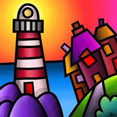 Lighthouse - colourful fine art giclee print by Amanda Hone