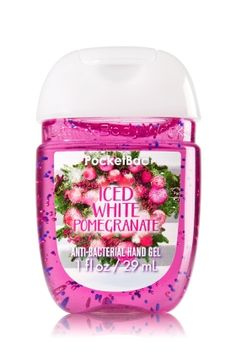 Iced White Pomegranate - PocketBac Sanitizing Hand Gel - Bath & Body Works - Now with more happy! Our NEW PocketBac is perfectly shaped for pockets & purses, making it easy to kill 99.9% of germs when you're on-the-go! New, skin-softening formula conditions with Aloe & Vitamin E to leave your hands feeling soft and clean.