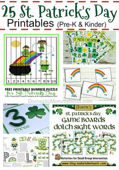 The last few days I have been online looking for St. Patrick's Day Printables for Charlee Ann and boy did I hit the jackpot! She is in Kindergarten now and we are really into learning our math and literacy. We have third quarter assessments coming up with Free Preschool, Preschool Kindergarten, Kindergarten Worksheets, Preschool Ideas, Online Math Courses, Free Printable Numbers, St Patrick Day Activities, Fun Math Games, Number Puzzles