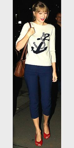 Taylor Swift continues to WOW in her red cutout sandals! Click the picture to get the shoe look!
