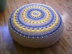 Crochet Pouf / Ottoman / Floor Cushion / Eco friendly by Stefkowo
