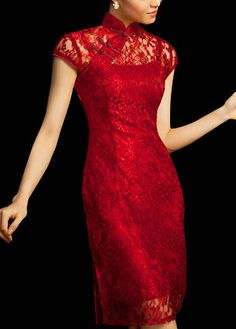 Chinese Cheongsam Qipao Gown - Vintage Cocktail Dress Asian Fashion Chic 107 - FREE SHIPPING. $78.00, via Etsy.