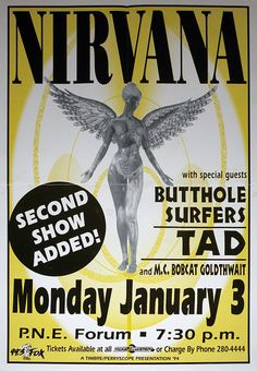 Nirvana show poster Tad and Butthole Surfers