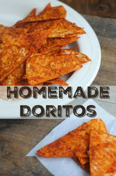 These homemade Doritos style chips are perfect for snack time! You& love the familiar cheesy flavor, crunch, and ingredients you can recognize! Homemade Chips, Homemade Tortillas, Healthy Homemade Snacks, Homemade Crackers, Doritos Seasoning Recipe, Homemade Tortilla Chips Baked, Recipes With Corn Tortillas, Tortilla Wraps, Vegetarian Recipes