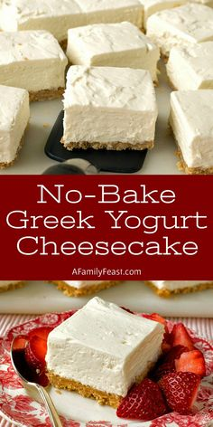 These No-Bake Greek Yogurt Cheesecake Squares are creamy and delicious with a wonderful tangy-sweet flavor thanks to the addition of whole-milk Greek yogurt and cream cheese. Your guests will love this easy dessert! Greek Yogurt Dessert, Greek Yogurt Cheesecake, Greek Desserts, No Bake Desserts, Easy Desserts, Recipes With Greek Yogurt, Greek Yogurt Brownies, Yogurt Pie, Desserts With Yogurt