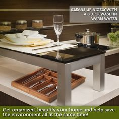 Bamboo utensil tray is fully-expandable to fit any drawer size, for ease of use in your kitchen