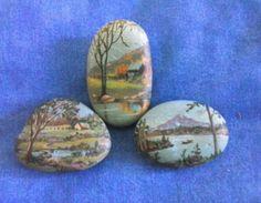 3 Miniature Landscapes Handpainted Rocks   eBay