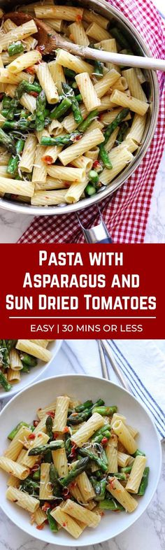 Pasta with asparagus and sun dried tomatoes. A quick and easy past dish featuring sauteed asparagus and finely minced sun dried tomatoes - tossed in a lemon basil dressing. #vegetarian #pasta #asparagus #easyrecipe