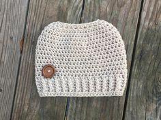 Messy Bun Beanie  Ready To Ship  Linen Messy Bun  Crochet