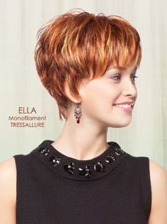 Ella by TressAllure is a pixie cut, packed with wispy short layers wig. It shows off a tapered neckline with full bangs to add great volume. It is designed with monofilament top, which gives you the m