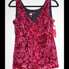 NWTBoutique Velvet Decor Top NWT!!! Chiffon top with velvet decoration-Very RomanticThe bow is able to be untied. Boutique Tops