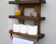 Shabby Chic Wood Bathroom Shelves. by HarvestTrailJourney on Etsy